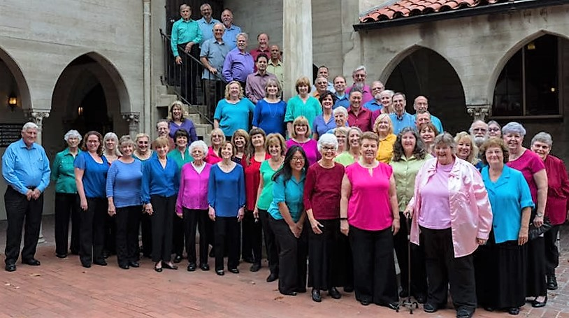 The Raincross Master Chorale on the steps at Calvary Presbyterian Church in Riverside. Photo by Bob Sirotnik