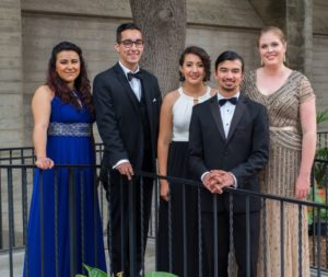 Some of the recent scholarship winners from the Raincross Master Chorale: from left, Susana Leiva, James Gjurgevich, Leslie Martinez, Anthony Leon and Sarah Horn.